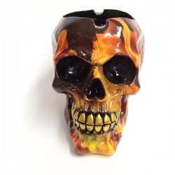 Aschenbecher Totenkopf mit Flammen