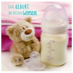 """3D Klappkarten """"Zur Geburt Teddy und Flasche"""""""
