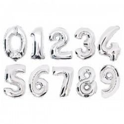 Zahlenballons silber